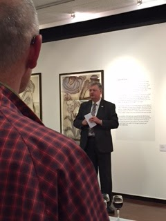 Council Leader, David Renard Talked About How Pleased He Was To See Eileen Cooper's Exhibition In Swindon Museum And Art Gallery, With Erik B-G's Ear And Check Shirt Partly Framing The Picture.